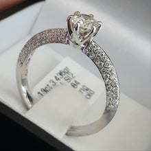 Load image into Gallery viewer, 0.47ct Round Brilliant Cut Diamond Centre | 0.51ct [84] Round Brilliant Cut Diamonds on Shank | Designer Ring | 18kt White Gold Ring