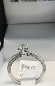 0.47ct Round Brilliant Cut Diamond Centre | 0.51ct [84] Round Brilliant Cut Diamonds on Shank | Designer Ring | 18kt White Gold Ring