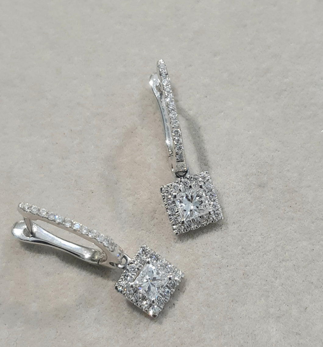 0.63ct Princess and Round Cut Diamonds | Drop Earrings | 10kt White Gold