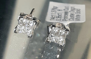 0.35ct Princess Cut Diamonds | Cluster Design Stud Earrings | 14kt White Gold