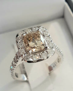 1.921ct Cushion Cut Centre Diamond + 1.00ct Side Diamonds set in 18kt Rose Gold