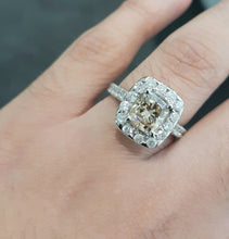 Load image into Gallery viewer, 1.921ct Cushion Cut Centre Diamond + 1.00ct Side Diamonds set in 18kt Rose Gold