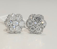 Load image into Gallery viewer, 1.00ct Round Brilliant Cut Diamonds | Flower Design Earrings | 14kt White Gold