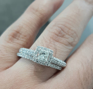 1.00ct Princess and Round Brilliant Cut Diamonds | Bridal Twinset | Designer Piece | 14kt White Gold