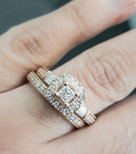 Load image into Gallery viewer, 1.00ct Baguette and Round Brilliant Cut Diamonds | Bridal Twinset | Designer Piece | 14kt Rose Gold