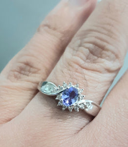 0.30ct Oval Cut Tanzanite | 0.14ct Round Brilliant Cut Diamonds | Dress Ring | 18kt White Gold