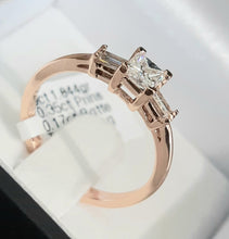 Load image into Gallery viewer, 0.35ct Princess Cut Centre | 0.17cts [2] Baguette Cut Diamonds | Trilogy Design Ring | 9kt Rose Gold