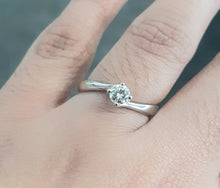 Load image into Gallery viewer, 0.32ct Round Brilliant Cut Diamond | Solitaire Twist Design Ring | 18kt White Gold