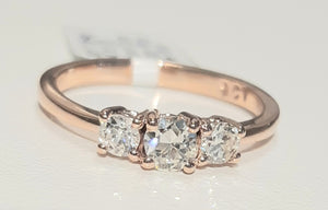 0.47ct [3] Round Cut Diamonds | Trilogy Ring | 9kt Rose Gold