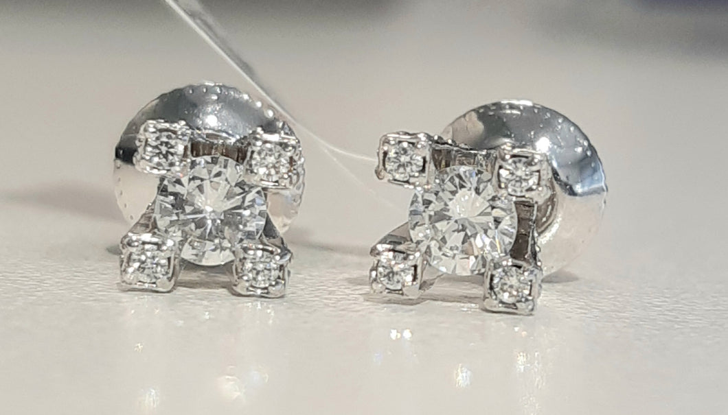 0.77cts [58] Round Brilliant Cut Diamonds | Earring Studs with Diamonds on Collet | 18kt White Gold