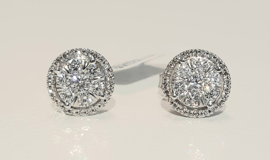 0.60cts Round Brilliant Cut Diamonds | Cluster Halo Design Stud Earrings | 9kt White Gold