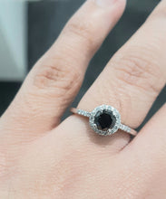 Load image into Gallery viewer, 0.58ct Round Cut Black Diamond Centre | 0.18cts Round Brilliant Cut Diamonds | Halo Design Ring | 9kt White Gold