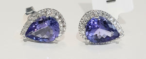 3.00cts [2] Pear Cut Tanzanite | 0.25cts Round Brilliant Cut Diamonds | Designer Halo Earings | 9kt White Gold