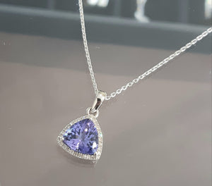 3.08ct Trillion Cut Tanzanite | 0.15cts Round Brilliant Cut Diamonds | Designer Pendant with Chain | 9kt White Gold