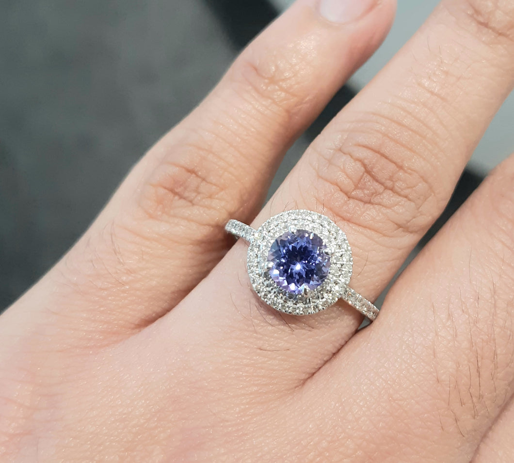 1.00ct Round Cut Tanzanite Centre | 0.30cts [62] Round Brilliant Cut Diamonds | Double Halo Ring | 9kt White Gold