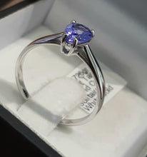 Load image into Gallery viewer, 0.70ct Pear Cut Tanzanite | Solitaire Design Ring | 9kt White Gold