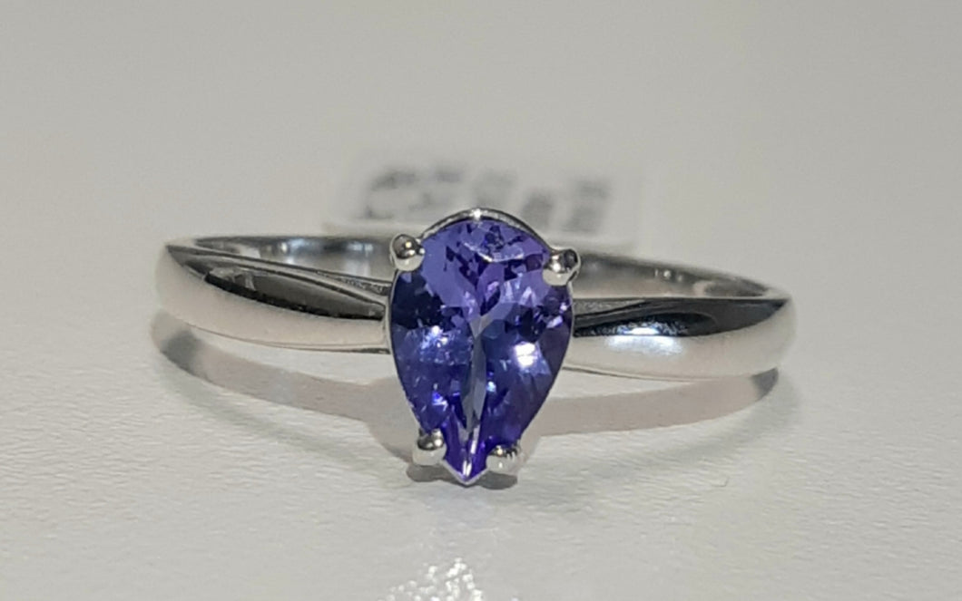 0.70ct Pear Cut Tanzanite | Solitaire Design Ring | 9kt White Gold