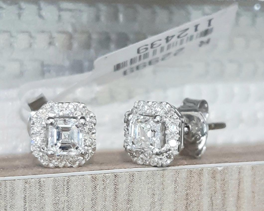0.50cts [2] Emerald Cut Centre Diamonds | 0.15cts Round Brilliant Cut Diamonds | Designer Stud Earrings | 9kt White Gold