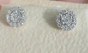 0.30ct Round Brilliant Cut Diamonds | Stud Earrings | Cluster Design | 18kt White Gold