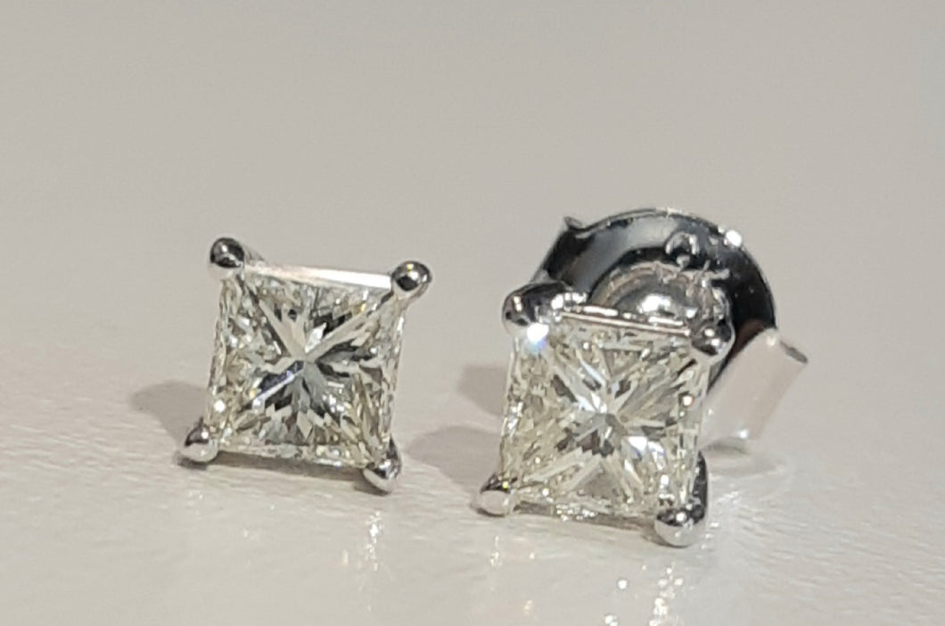 0.50cts [2] Princess Cut Diamond | Stud Earring | 18kt White Gold