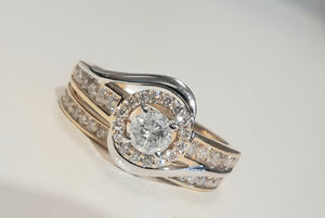 1.00ct Round Brilliant Cut Diamonds | Halo Design Bridal Twinset | 14kt Yellow and White Gold