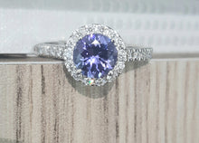 Load image into Gallery viewer, 1.00ct Round Cut Tanzanite | 0.38cts [30] Round Brilliant Cut Diamonds | Halo Designer Ring | 9kt White Gold