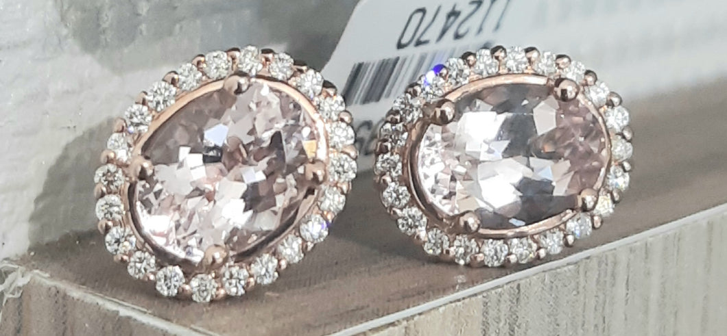 2.40ct [2] Oval Cut Morganite | 0.30cts [44] Round Brilliant Cut Diamonds | Halo Earrings | 9kt Rose Gold