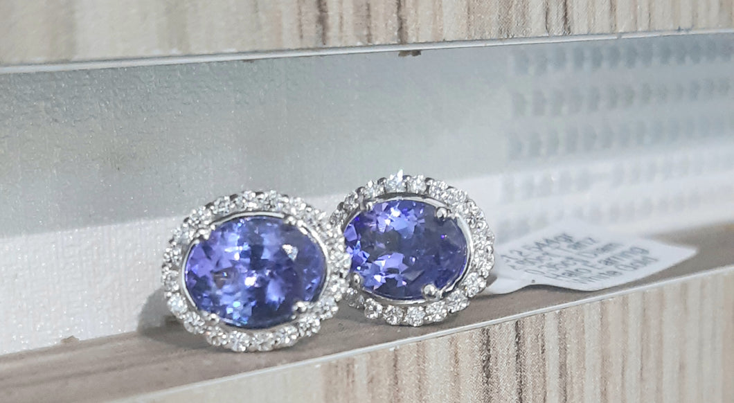 2.60ct [2] Oval Cut Tanzanites | 0.35cts [40] Round Brilliant Cut Diamonds | Halo Design Earrings | 9kt White Gold