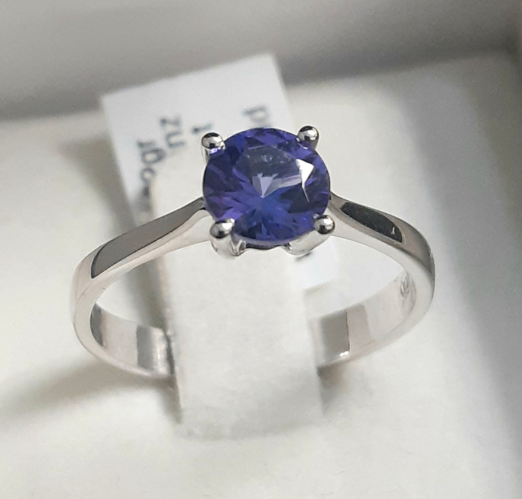 0.80ct Round Cut Tanzanite | Solitaire Design Ring | 9kt White Gold