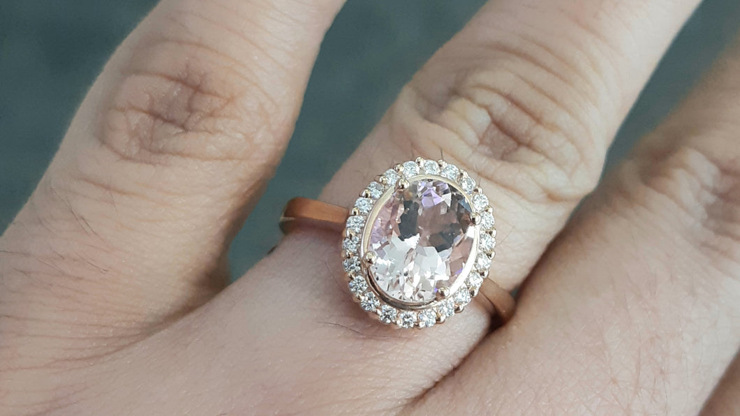 1.75ct Oval Cut Pink Morganite | 0.20cts Round Brilliant Cut Diamonds | Halo Design Ring | 9kt Rose Gold