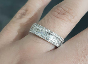 0.85cts [60] Round and Baguette Cut Diamonds | Designer Bands | 18kt White Gold