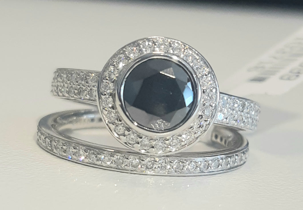 0.80ct Round Cut Black Diamond | 1.00cts Round Brilliant Cut Diamonds | Designer Ring with Band | Platinum