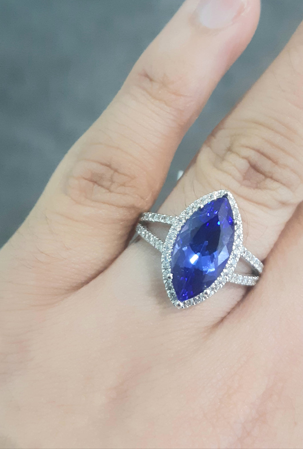 3.26ct Marquise Cut Tanzanite | 0.40cts [60] Round Brilliant Cut Diamonds | Split Shank Designer Ring | 18kt White Gold