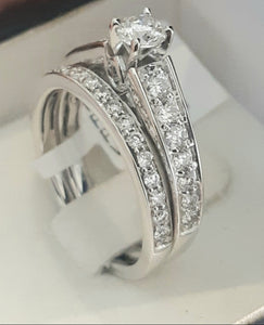 1.00cts [tw] Round Brilliant Cut Diamonds | Pave Design Bridal Twinset | 14kt White Gold