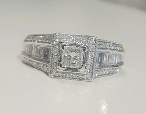 0.327ct Princess Cut Diamond Centre | 0.80cts Round and Baguette Diamonds | Designer Ring | 14kt White Gold