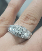Load image into Gallery viewer, 0.327ct Princess Cut Diamond Centre | 0.80cts Round and Baguette Diamonds | Designer Ring | 14kt White Gold