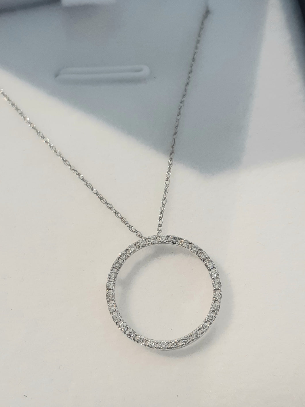 0.25cts [30] Round Brilliant Cut Diamonds | Circle of Life Pendant with Chain | 9kt White Gold