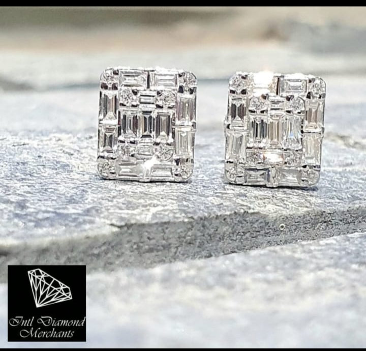 1.00cts [42] Round Brilliant and Baguette Cut Diamonds | Invisible Designer Stud Earrings | 18kt White Gold