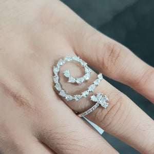 1.13cts [23] Pear Cut Diamonds | 0.06cts [9] Round Brilliant Cut Diamonds | Swirl Designer Ring | 18kt White Gold