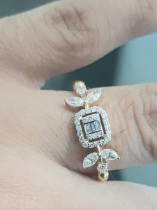 0.25cts Round Brilliant and Baguette Cut Diamonds | 0.33cts Marquise Cut Diamonds | Designer Ring | 18kt Rose Gold