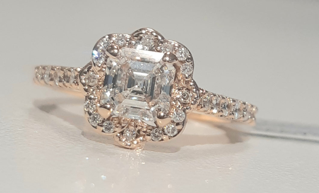 1.007ct Assher Cut Diamond Certified Centre | 0.27cts [30] Round Brilliant Cut Diamonds | Designer Ring | 18kt Rose Gold