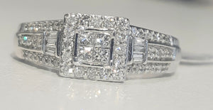 0.65cts | Round Brilliant, Princess and Baguette Cut Diamonds | Designer Ring | 10kt White Gold
