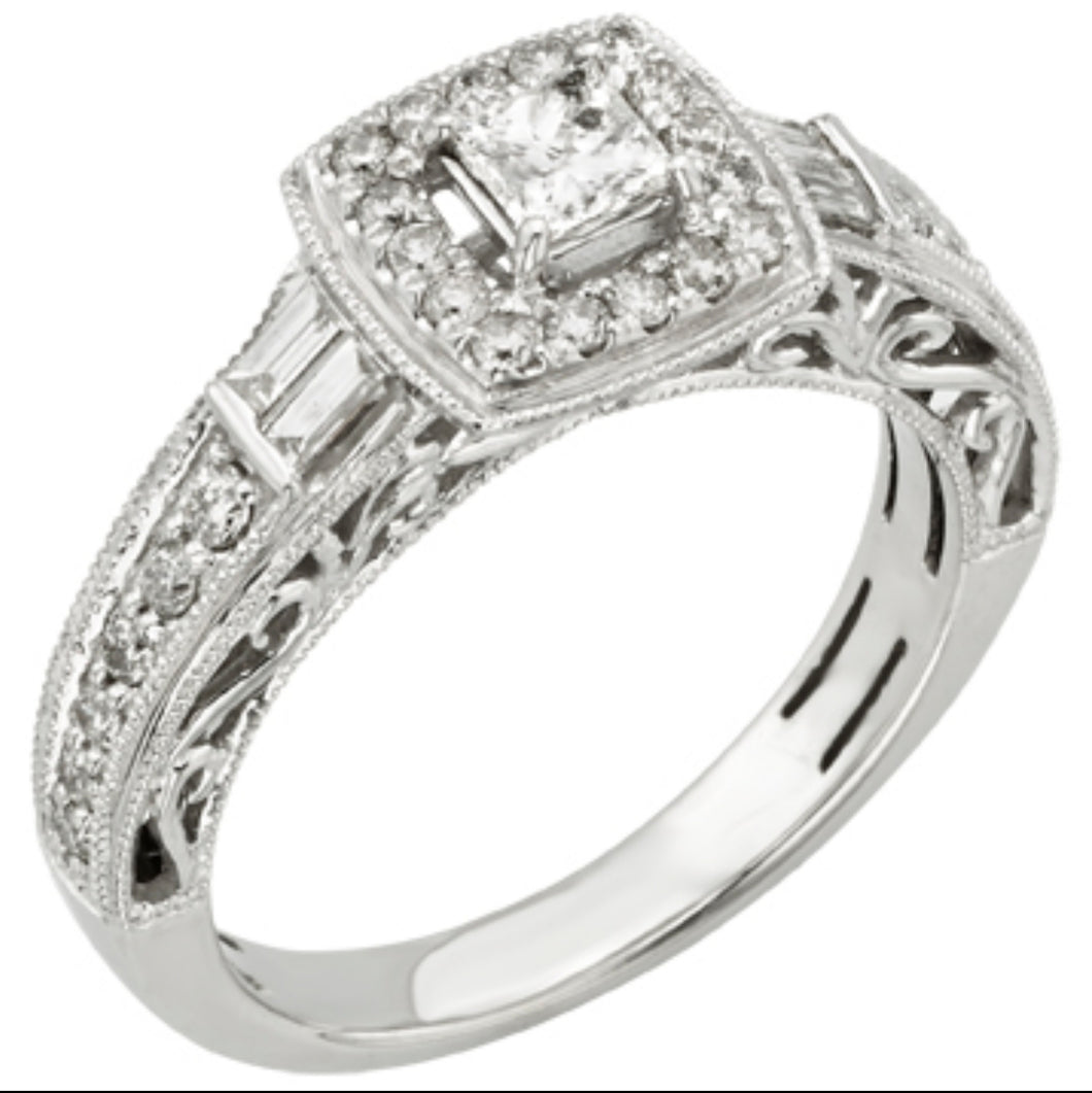 0.80cts | Round Brilliant, Princess and Baguette Cut Diamonds | Designer Ring | 10kt White Gold