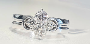 0.55cts [4] Round Brilliant Cut Diamond | Designer Cluster Ring | 18kt White Gold