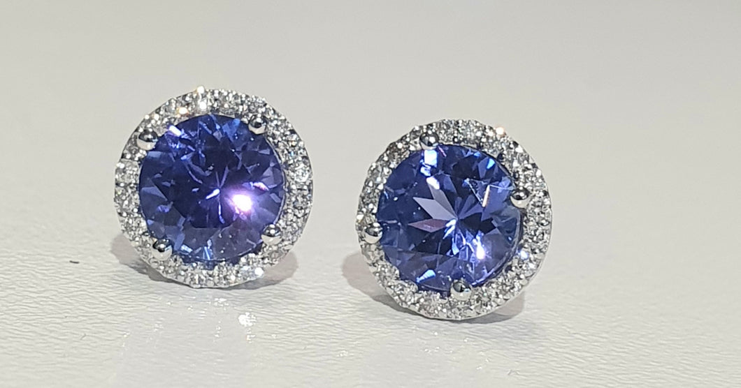 1.90cts [2] Round Cut Tanzanite | 0.20cts [40] Round Brilliant Cut Diamonds | Halo Design Stud Earrings | 9kt White Gold