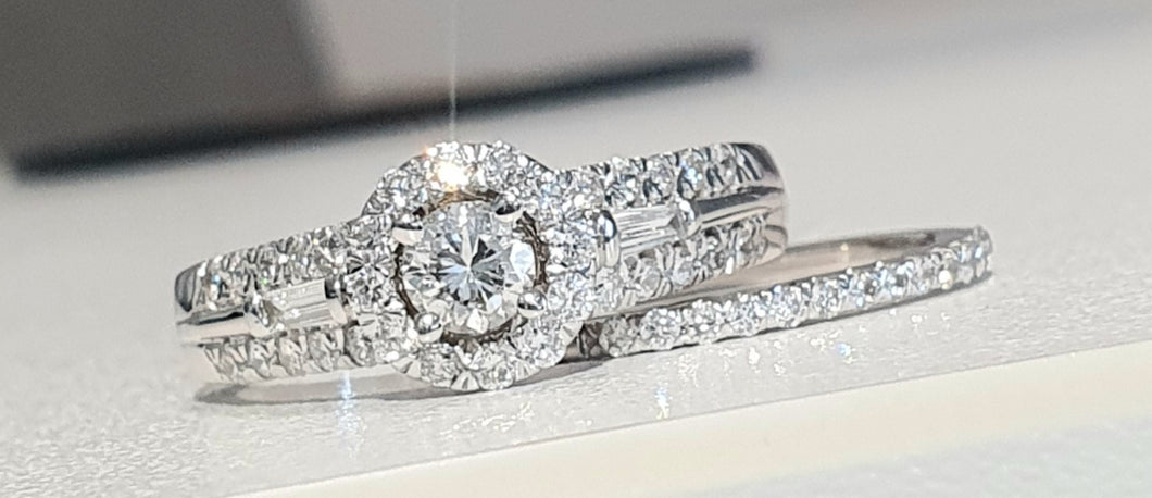 1.00cts Round Brilliant and Baguette Cut Diamonds | Designer Halo Bridal Twinset| 14kt White Gold