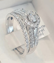 Load image into Gallery viewer, 1.00cts Round Brilliant and Baguette Cut Diamonds | Designer Halo Bridal Twinset| 14kt White Gold