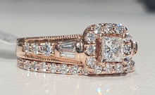 Load image into Gallery viewer, 1.00cts | Round Brilliant, Princess and Baguette Cut Diamonds | Bridal Twinset | 14kt Rose Gold