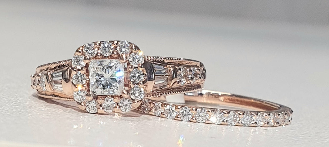 1.00cts | Round Brilliant, Princess and Baguette Cut Diamonds | Bridal Twinset | 14kt Rose Gold
