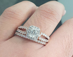 1.00cts | Round Brilliant and Baguette Cut Diamonds | Designer Bridal Twinset | 14kt Rose and White Gold